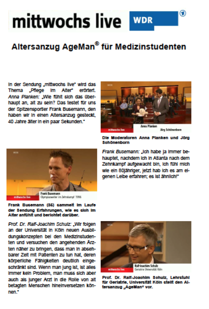 AgeMan in den Medien, WDR