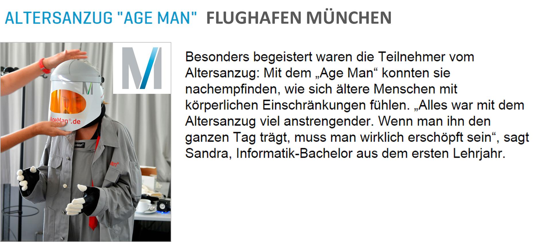 Altersanzug AgeMan im Flughafen München